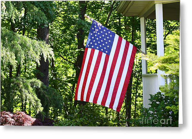 Greeting Card featuring the photograph American Flag At Home by Denise Pohl