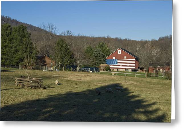 American Flag Painted On The Barn Greeting Card