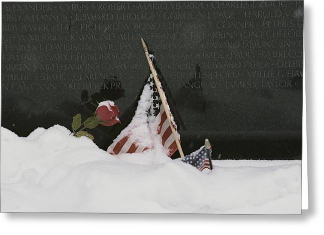 American Flags And A Rose Commemorate Greeting Card