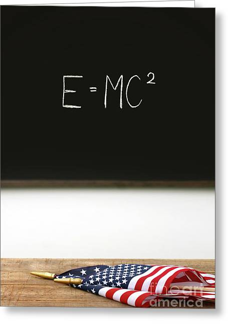 American Flags Laying On School Desk Greeting Card by Sandra Cunningham