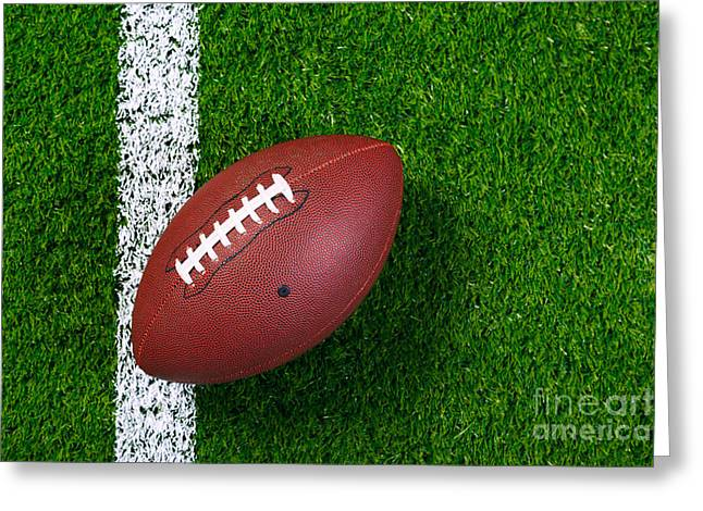 American Football On Grass From Above. Greeting Card