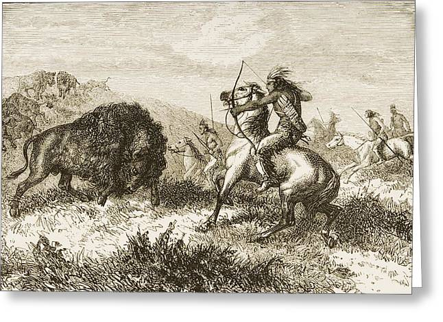 American Indians Buffalo Hunting. From Greeting Card by Ken Welsh