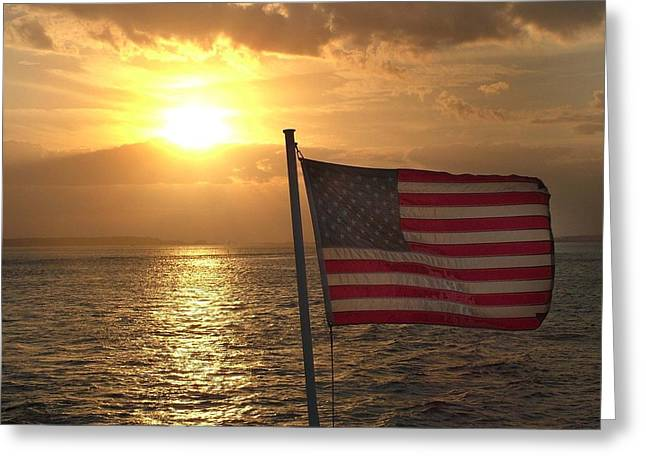 American Sunset Greeting Card by Lillie Wilde