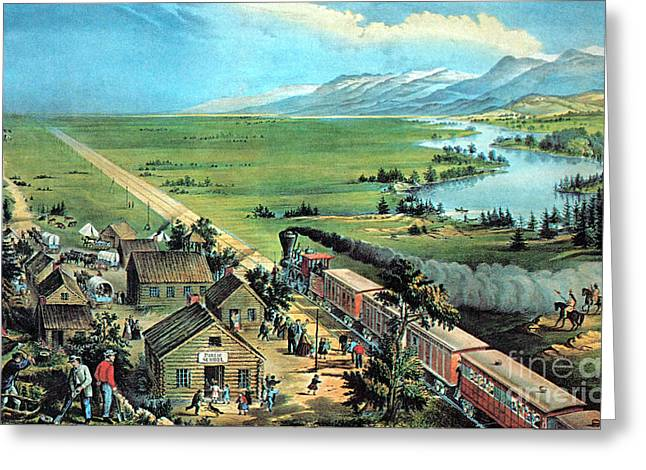 American Transcontinental Railroad Greeting Card by Photo Researchers