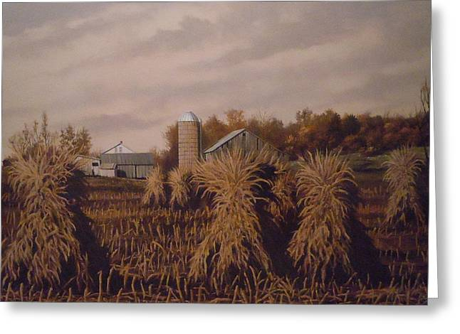 Amish Farm In Autumn Greeting Card