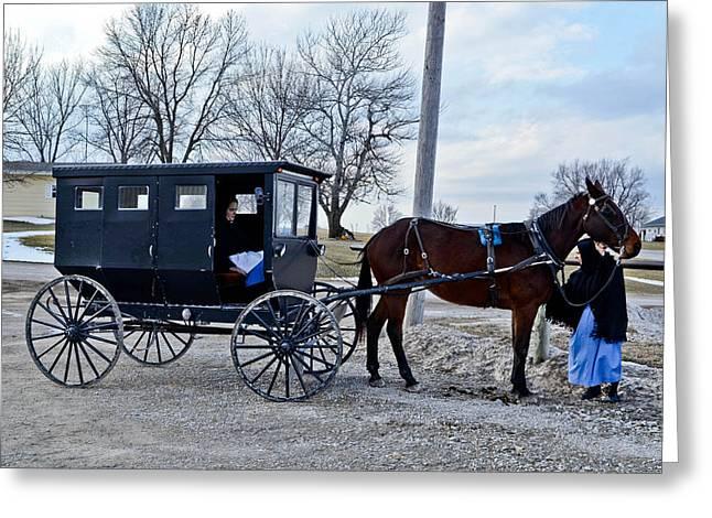 Amish Women Greeting Card by Brenda Becker
