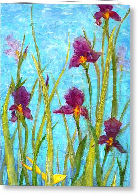 Among The Wild Irises Greeting Card by Carla Parris
