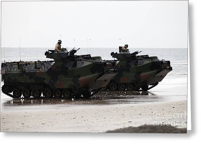 Amphibious Assault Vehicles Land Ashore Greeting Card by Stocktrek Images