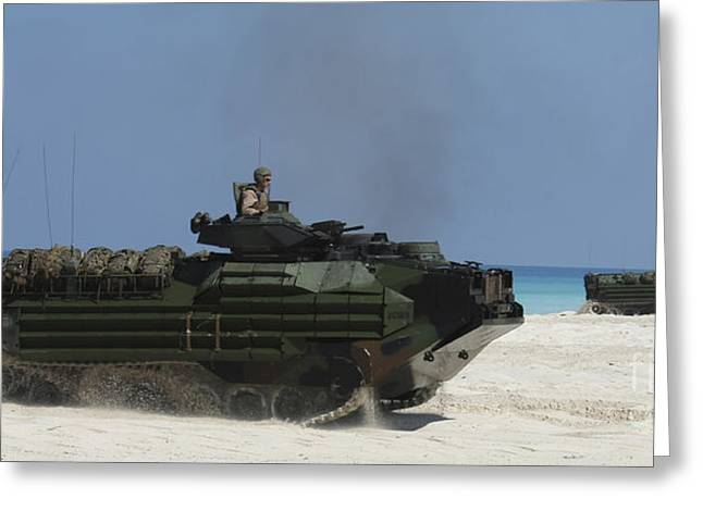 Amphibious Assault Vehicles Raid Greeting Card by Stocktrek Images