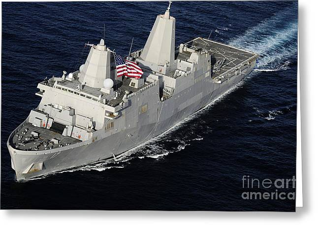 Amphibious Transport Dock Ship Uss San Greeting Card by Stocktrek Images