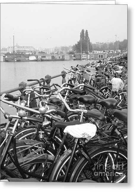 Amsterdam Bikes Greeting Card by Erica Ross