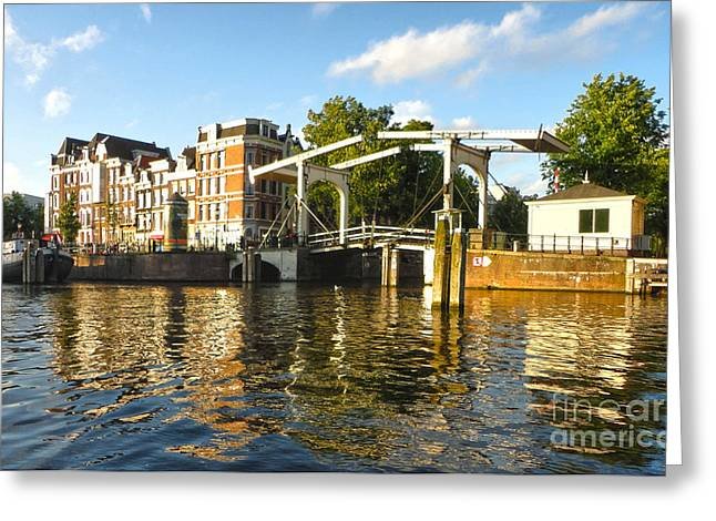 Amsterdam Canal Drawbridge - 03 Greeting Card by Gregory Dyer
