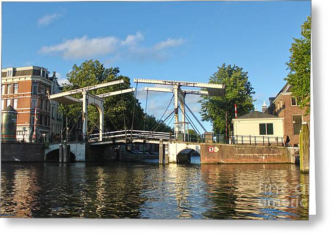 Amsterdam Canal Drawbridge Greeting Card by Gregory Dyer
