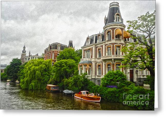 Amsterdam Canal Mansion Greeting Card by Gregory Dyer