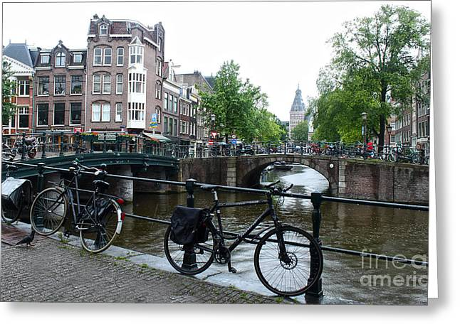 Amsterdam Canal View - 04 Greeting Card by Gregory Dyer