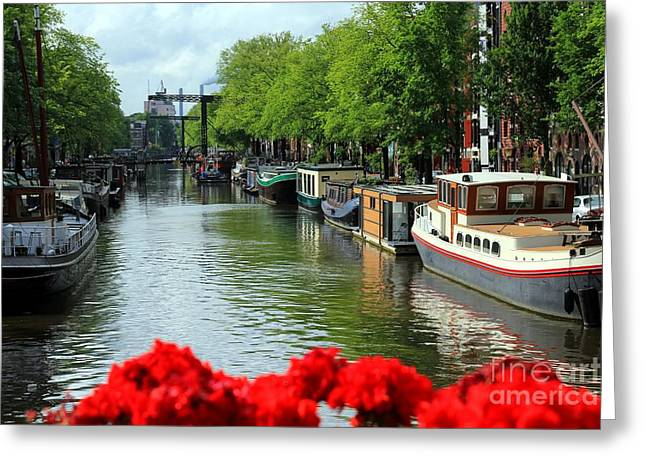 Amsterdam Summer Scene Greeting Card by Sophie Vigneault