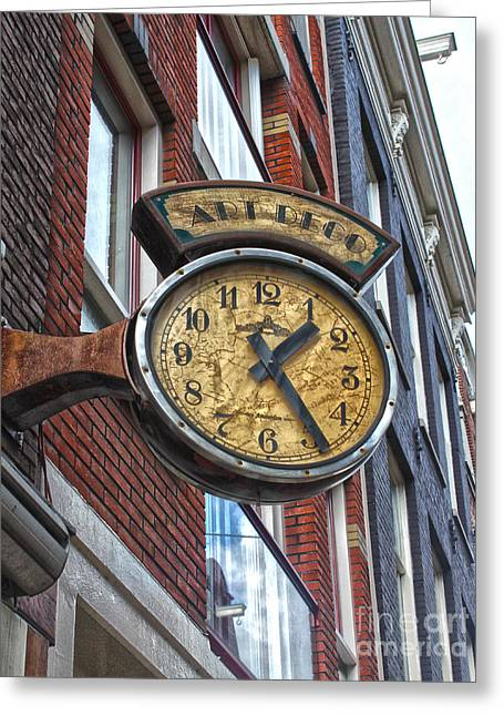 Amsterdam Vintage Deco Clock Sign Greeting Card by Gregory Dyer