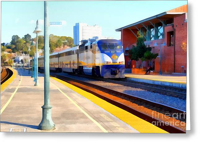 Amtrak Arriving At The Martinez California Train Station . 7d10495 Greeting Card by Wingsdomain Art and Photography
