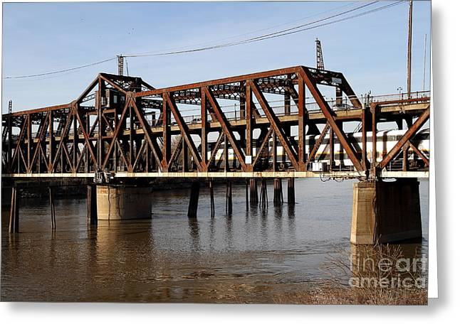 Amtrak California Crossing The Old Sacramento Southern Pacific Train Bridge . 7d11692 Greeting Card by Wingsdomain Art and Photography