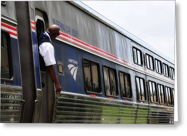 Amtrak Conductor Greeting Card by Lyle  Huisken