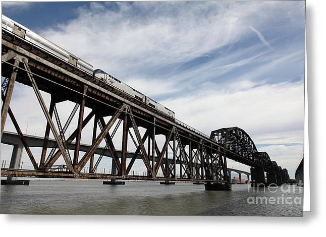 Amtrak Train Riding Atop The Benicia-martinez Train Bridge In California - 5d18723 Greeting Card