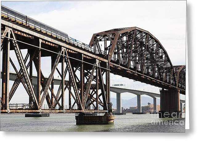 Amtrak Train Riding Atop The Benicia-martinez Train Bridge In California - 5d18768 Greeting Card