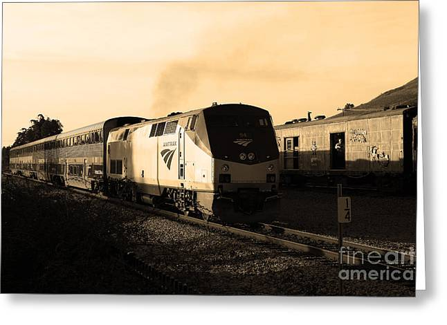 Amtrak Trains At The Niles Canyon Railway In Historic Niles District California . 7d10857 . Sepia Greeting Card