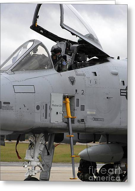 An A-10 Pilot Prepares To Shut Greeting Card by Stocktrek Images
