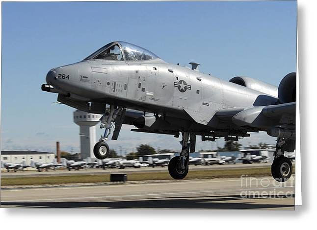 An A-10 Thunderbolt II Taking Off Greeting Card by Stocktrek Images