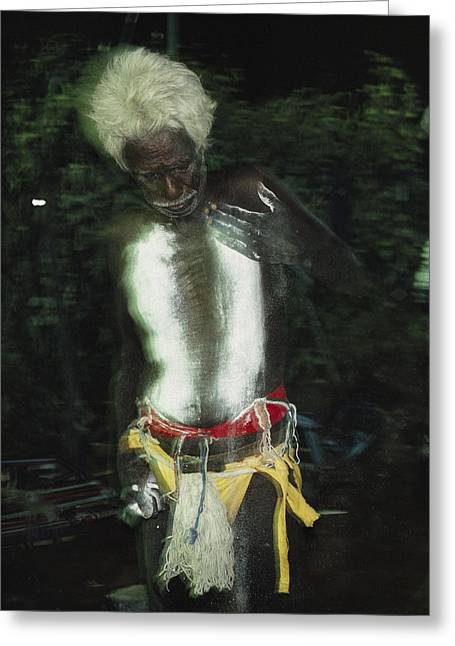 An Aboriginal Man Smears His Chest Greeting Card by Sam Abell