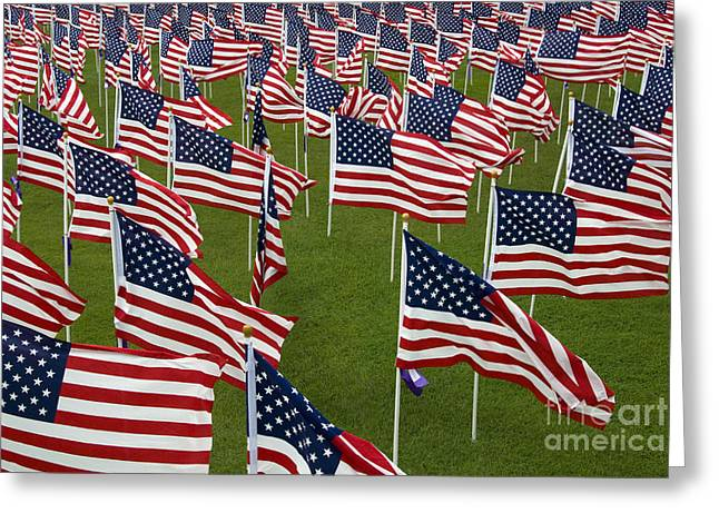 An Abundance Of American Flags Greeting Card by Stocktrek Images