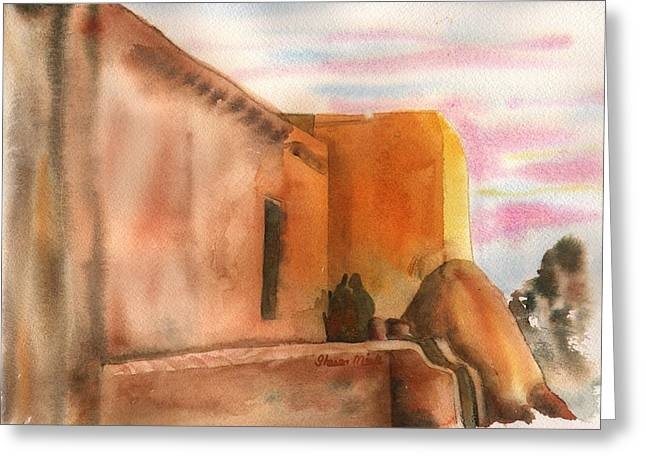 Greeting Card featuring the painting An Age Old Adobe by Sharon Mick