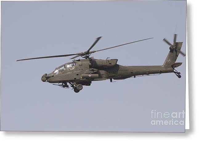An Ah-64 Apache In Flight Greeting Card by Terry Moore