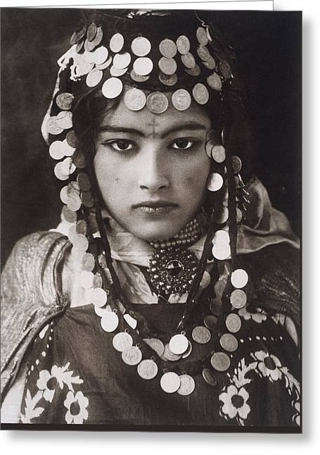 An Algerian Girl Wears A Dowry Of Gold Greeting Card by Lehnert and Landrock