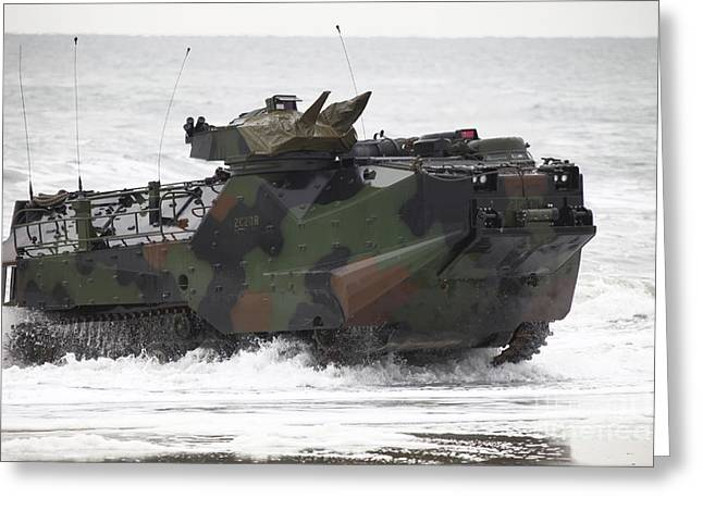 An Amphibious Assault Vehicle Drives Greeting Card by Stocktrek Images