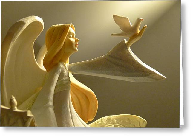 An Angelic Offering Of Peace Greeting Card by Cindy Wright