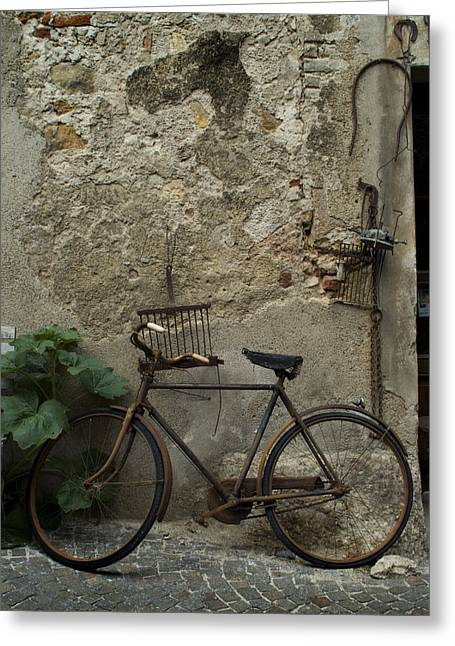 An Antique Rusted Bicycle Leans Greeting Card by Todd Gipstein