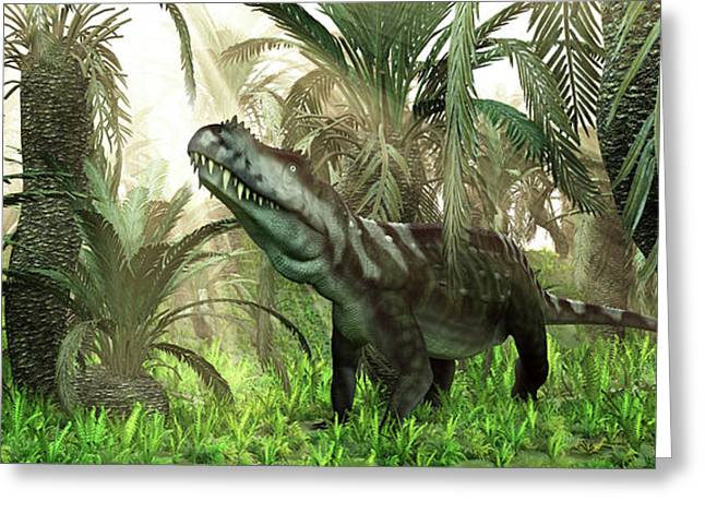 An Archosaur Wanders Amidst Cycads Greeting Card