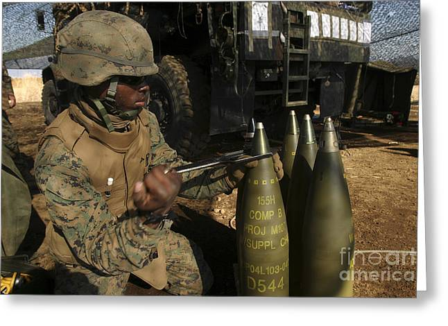 An Artilleryman Places A Fuse Greeting Card by Stocktrek Images