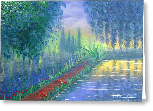Greeting Card featuring the painting An Artist's Garden by Stacey Zimmerman