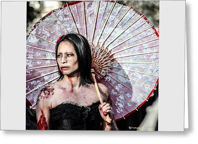 Greeting Card featuring the photograph An Asian Zombie by Stwayne Keubrick
