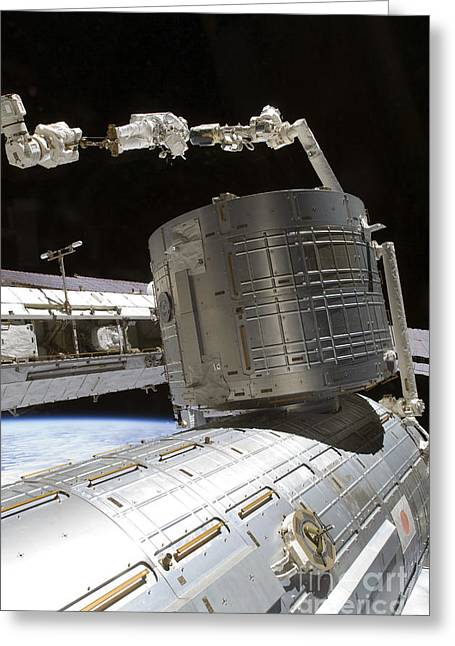 An Astronaut Anchored To A Mobile Foot Greeting Card by Stocktrek Images