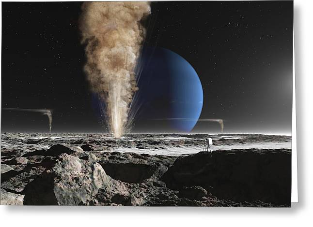 An Astronaut Observes The Eruption Greeting Card by Ron Miller
