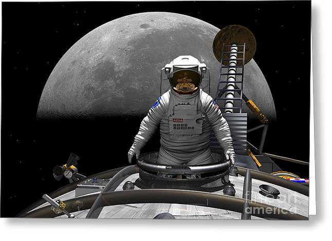 An Astronaut Takes A Last Look At Earth Greeting Card by Walter Myers