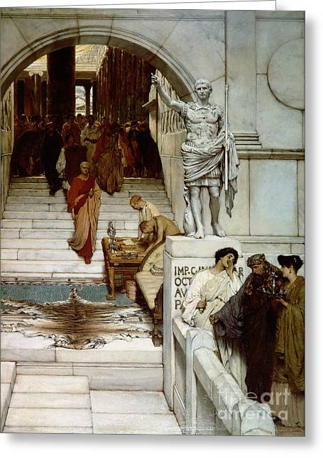 An Audience At Agrippa's Greeting Card by Sir Lawrence Alma-Tadema