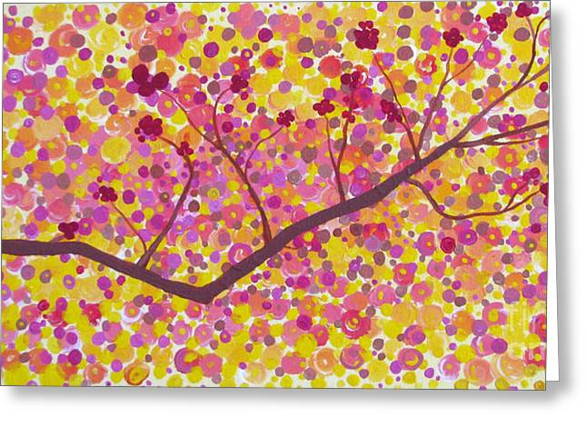 Greeting Card featuring the painting An Autumn Moment by Stacey Zimmerman