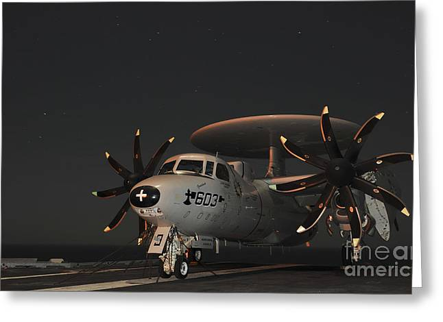 An E-2c Hawkeye Is Chained Greeting Card by Stocktrek Images