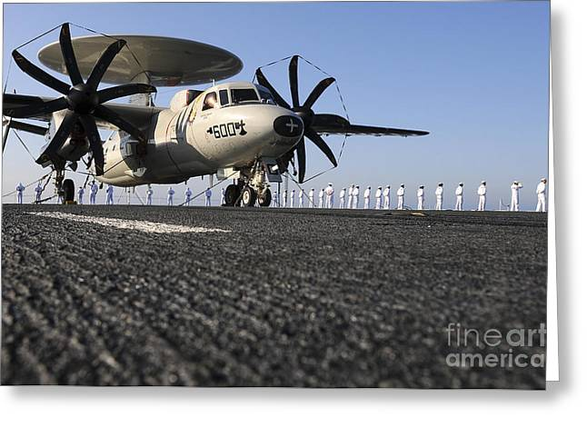 An E-2c Hawkeye Sits On The Flight Deck Greeting Card by Stocktrek Images
