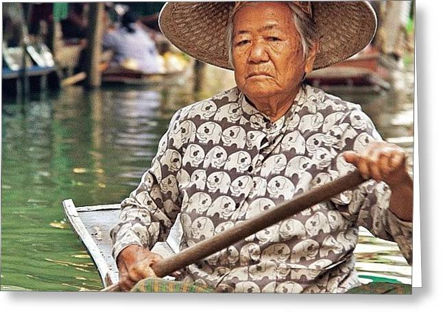 An Elderly Lady Rowing Along The Greeting Card