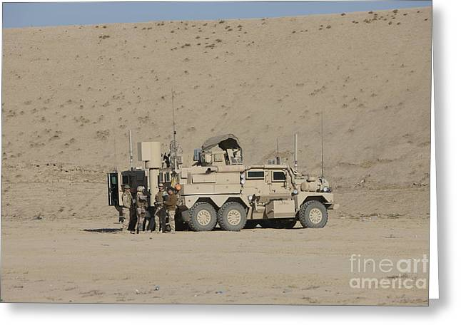 An Eod Cougar Mrap In A Wadi Greeting Card by Terry Moore